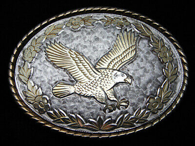 QL15108 VINTAGE 1980s *AMERICAN BALD EAGLE* COMMEMORATIVE ROCKMOUNT BELT BUCKLE