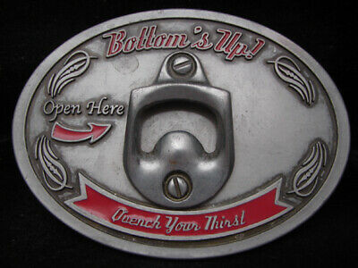 Mj05131 **Bottom's Up Quench Your Thirst (Bottle Opener)** Belt Buckle