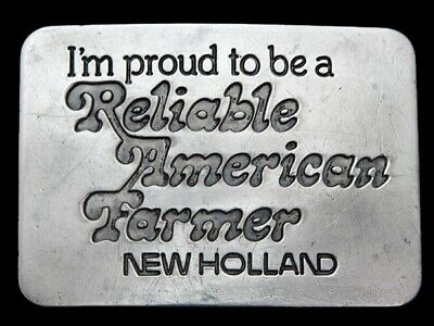 Mh03116 Vintage 1982 Proud To Be A Reliable American Farmer (New Holland) Buckle