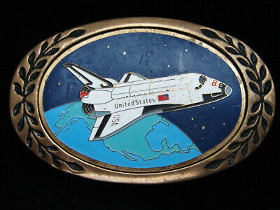 Ph09103 Vintage 1980 **Nasa Space Shuttle** Commemorative Solid Brass Buckle