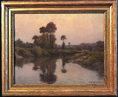 Victor Brugairolles (1869-1936) Fine French Signed Oil - Beautiful River Sunset