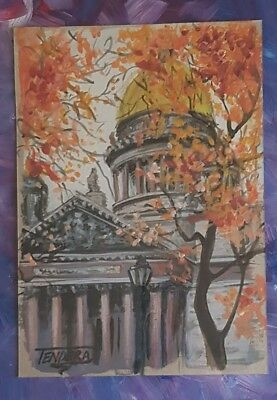 Abstract acrylic painting. Creative view of the St. Isaac's Cathedral (22x16)