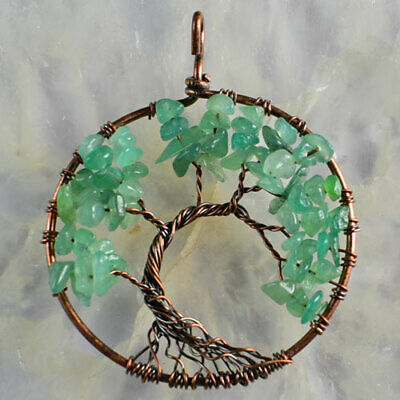 A3948-v 50x2 Green Aventurine Gravel Tree Of Life Chakra Bronze Pendant Bead