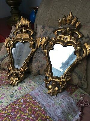 Pair Of Antique Carved Gilt Wood Mirrors With Mercury Glass