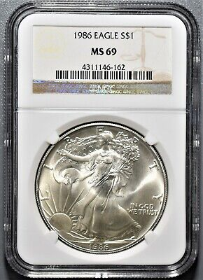 1986 1oz  AMERICAN SILVER EAGLE, CERTIFIED BY NGC MS69,  BT19