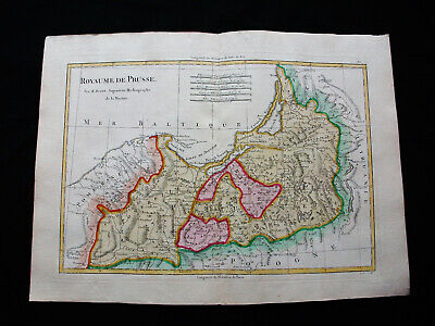"1787 BONNE ""amazing map"" PRUSSIA, POLAND, POLEN, LITHUANIA, BALTIC SEA NORTH SEA"