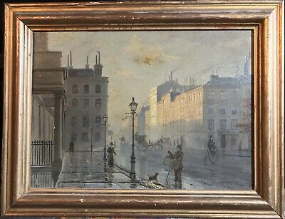 Leonidas Clint Miles (1856-1883) Rare Signed Oil - Grosvenor Square London Dusk