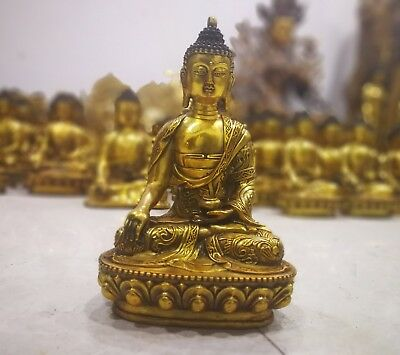 12inch Indian buddhist Ancient Bronze gilding Buddha Old Temple God Statue