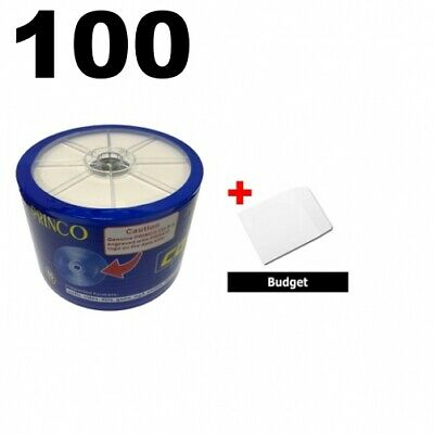 100 Princo 56X CD-R 80min 700MB White Inkjet Hub & 100 Paper Sleeves