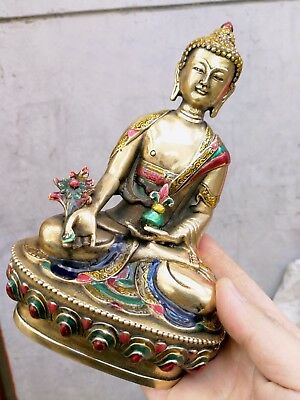 Collectible Cloisonne Old Handwork Bronze Carved Buddha Pray Safeness Statue