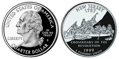 1999 S GEM BU PROOF New Jersey STATE QUARTER BRILLIANT UNCIRCULATED COIN PF