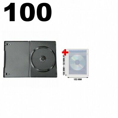 100 STANDARD Black Single DVD Cases 14MM & 100 OPP Plastic Wrap Bag