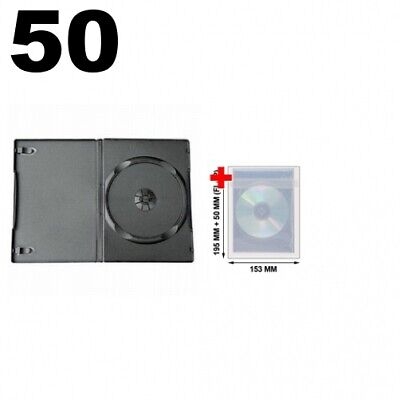 50 STANDARD Black Single DVD Cases 14MM & 100 OPP Plastic Wrap Bag