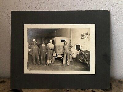 Rare Early 1900's Antique Photo African American Black Mechanics Car Motorcycle