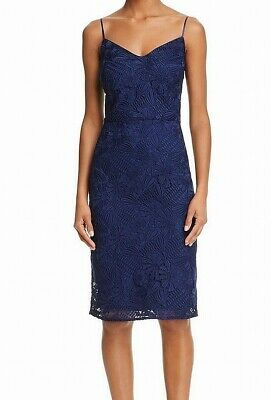 8d27e8e7666 Laundry By Shelli Segal NEW Blue Women's Size 6 Lace Sheath Dress $283 #020