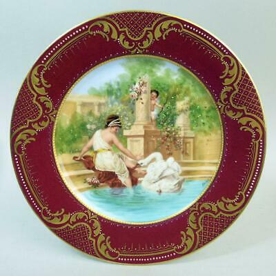 Antique Vienna Porcelain Cabinet Plate Leda And The Swan C.1880