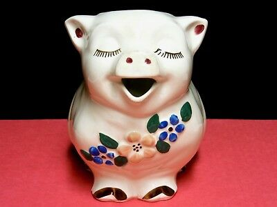 VINTAGE MID-20th C. SHAWNEE SMILEY PIG PITCHER PEACHY PINK & BLUE FLOWERS EUC