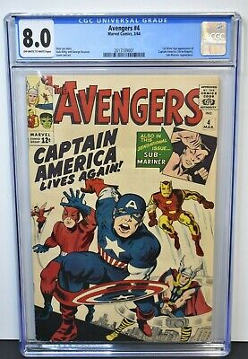 Avengers #4 (1964) CGC Graded 8.0 ~ 1st Silver Age Captain America ~ Stan Lee