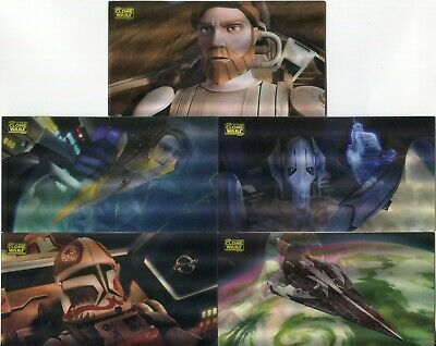 Star Wars Clone Wars Widevision Complete 5 Card Motion Chase Set