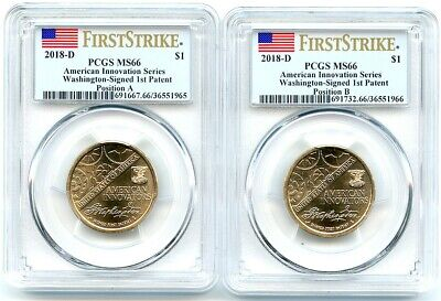 2018-D Innovation Unc Dollars 2-Coin Set, Positions A-B, PCGS MS-66, Flashy!