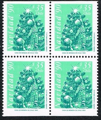 CHILE 1990 STAMP # 1485a MNH BLOCK OF FOUR CHRISTMAS