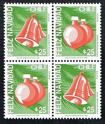 Chile 1989 Stamp # 1393/4 Ds-20 Block Of Four -Two Series- Mnh Christmas 89'