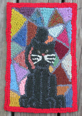 Cat on Patchwork  Primitive Rug Hooking Kit with #8 Cut wool fabric strips