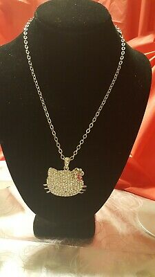 54cd46ef2 Hello Kitty Necklace LARGE Pendant 20in Silver Chain Rhinestone Pendant  Jewelry
