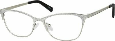 ea4090ef18e Zenni Optical 3215811 Cat-Eye Glasses Frames Case Prissy Librarian Silver  Glitz