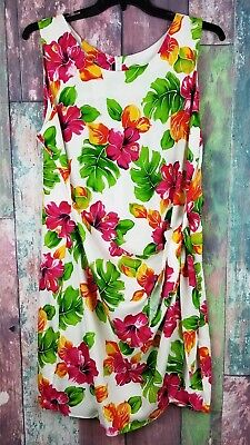 8005d1bef2f3 Two Palms Dress Womes Dress Floral Hawaiian Summer Casual Side Tie Wrap 2XL  (v