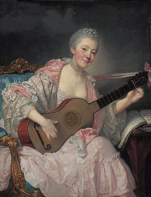 """perfect oil painting handpainted on canvas""""a woman playing the guitar""""@7548"""
