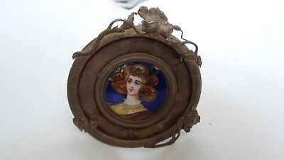 Fine Antique Art Nouveau Miniature Enamel On Copper Portrait In Amazing Frame