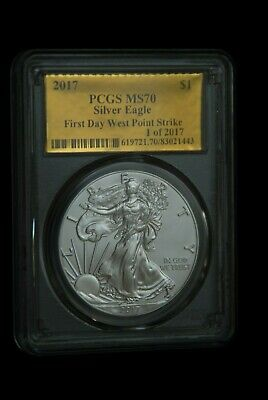 2017 SILVER EAGLE GOLD FOIL PCGS MS70 FDOI WEST POINT STRIKE 1 of 2017