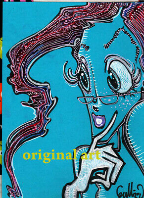 """STEPHANIE'S NEW GLASSES"" Original Pop Art GULLERUD Disney artist pinup big eyes"