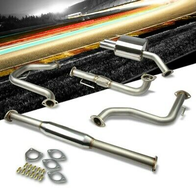 """2.5"""" Dual Round Muffler Tip Exhaust Catback System For 05-10 Saab 9-3 2.0L DOHC"""