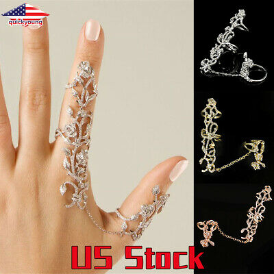 Rose Gold Women Two Finger Ring Fashion Crystal Rings With Chain  Alloy Jewelry