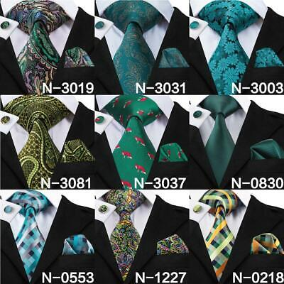 USA Green Plaid Solid Paisley Fox Silk Necktie Mens Tie Set New Hanky Cuff links