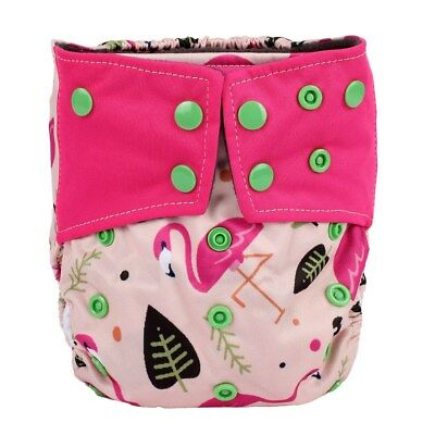 Baby Cloth Diaper Nappy Cover Bamboo Charcoal Reusable Gussets Girls Flamingo