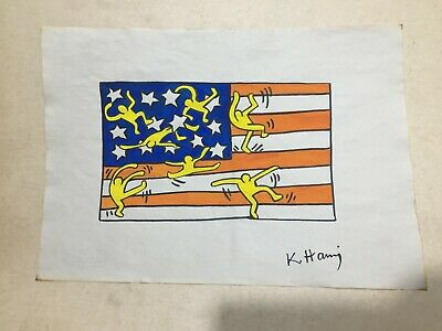 Keith Haring Drawing On Paper Hand Made Signature Sealed