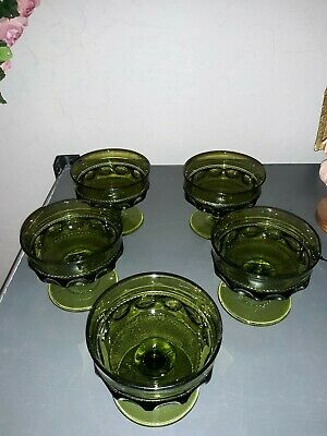 Vintage Set of 5 Indiana Green Glass Whitehall Cubist Footed Dessert Cups Dish