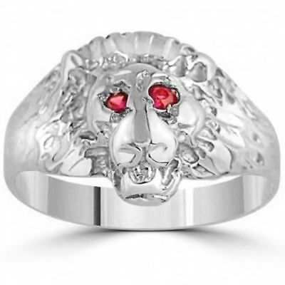 Lion Animal Face Shape 925 Sterling Silver Customized CZ Ring