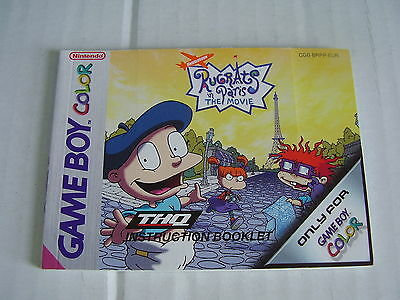 Nintendo Game Boy Color Replacement Instruction Manual Rugrats Paris The Movie