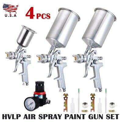 4Pcs Spray Tool Kit HVLP Gravity Feed 3 Tool + Air Gauge 0.8mm 1.4mm 1.7mm