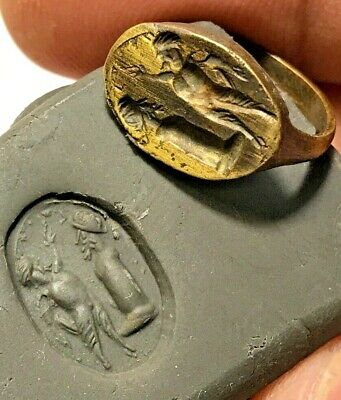 ANCIENT GREEK BRONZE RING WITH SEAL VERY RARE 3.5gr 25.1mm (18.1mm inner)