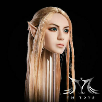 YMtoys YMT09A 1/6 Elf Girl Head Carved Blonde Hair Detachable Ears F Female Doll