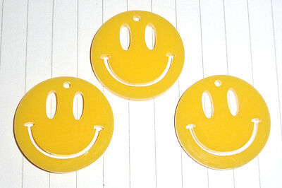 80s Retro Acid House Smiley Face pendant charms x 3 kitsch Kawaii