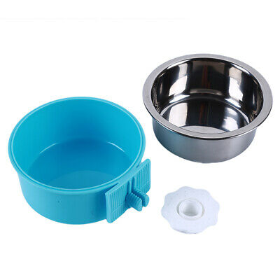 Double Layers Stainless Steel Pet Water Feeding Dog Food Dish Feeder Cat Bowl LG