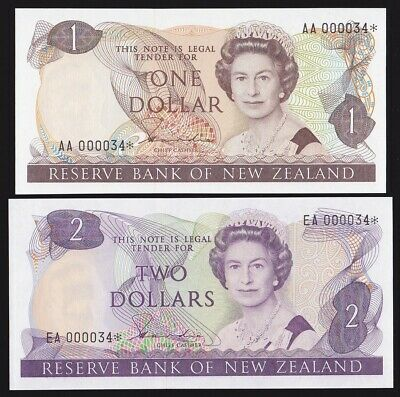 NEW ZEALAND $1, $2 QEII Hardie ND (1981-85) with matching low serials. UNC.