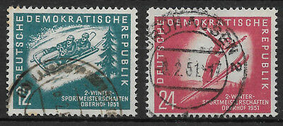 """GERMANY (DDR) - 1951 Used """"Winter Sports Championships, OBERHOF"""" Complete Set !!"""