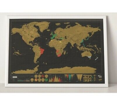 Deluxe Travel Edition Scratch Off World Map Poster Journal 42x30cm